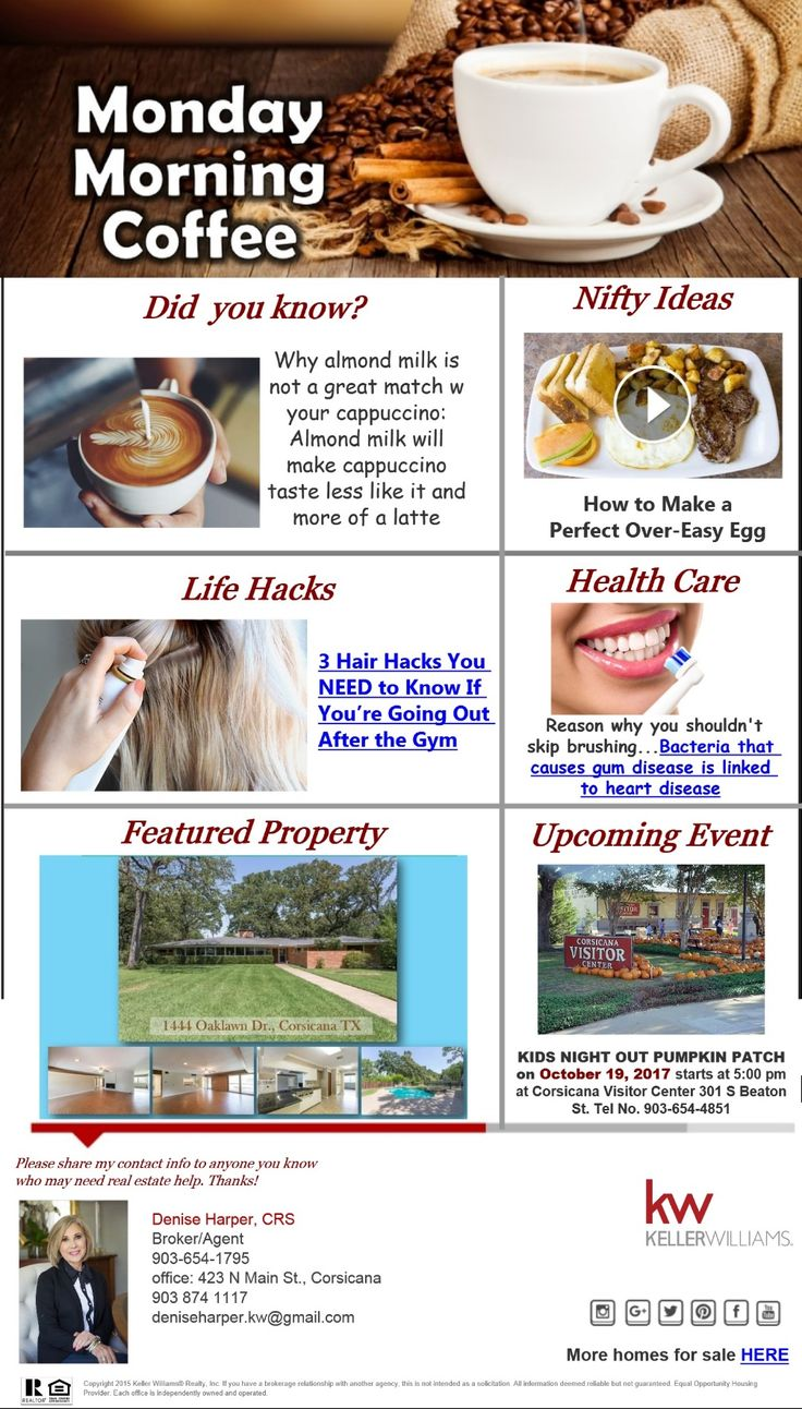 Monday Morning Coffee September 25, 2017 Happy Monday! Here are some good to know info, life hacks and tips, upcoming event and featured property
