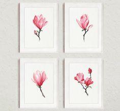 Magnolia Aquarelle Imprimé Rose Décor À La Maison par ColorWatercolor   – Tekeningen