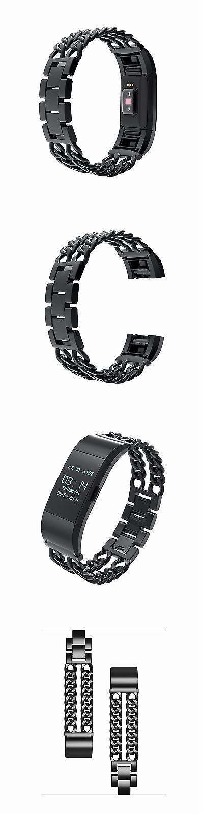 Fit Tech Parts and Accessories 179799: Fitbit Charge 2 Bands Replacement Metal Watch Bracelet Large Wrist Fitness Black BUY IT NOW ONLY: $33.73