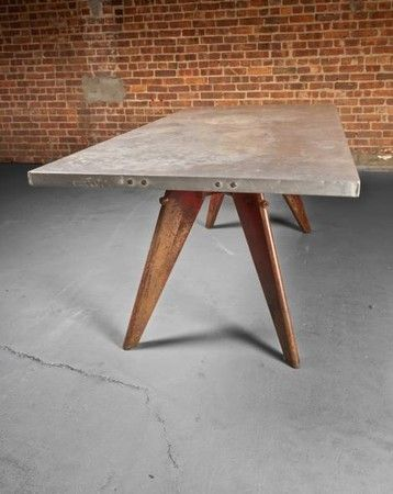 Jean Prouve (1901 - 1984), Aluminum Dining Table, aluminum with painted steel legs, c. 1952.