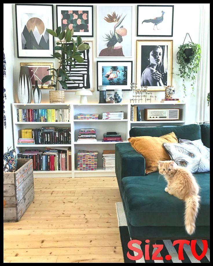 Wohnzimmer Sofa Velvet Green Galerie Wand Eklektisch Eklektisch