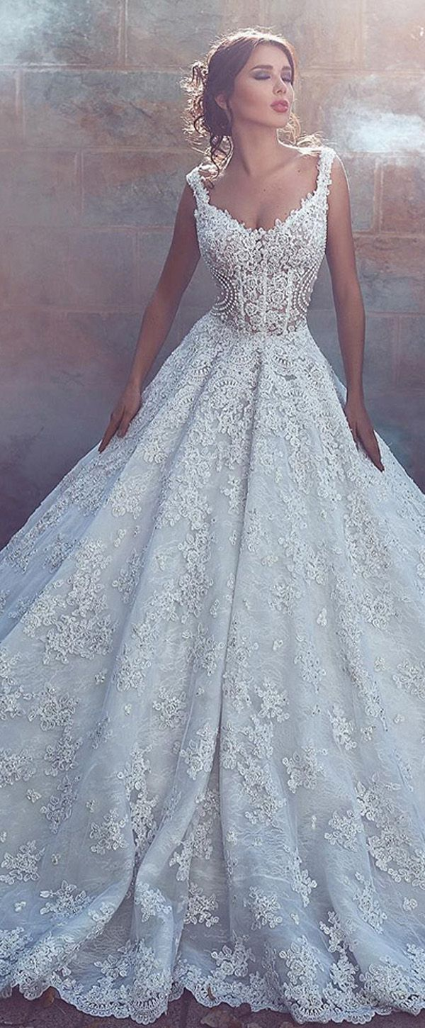 Fabulous Tulle V-neck Neckline See-through A-line Wedding Dresses With Beaded Lace Appliques