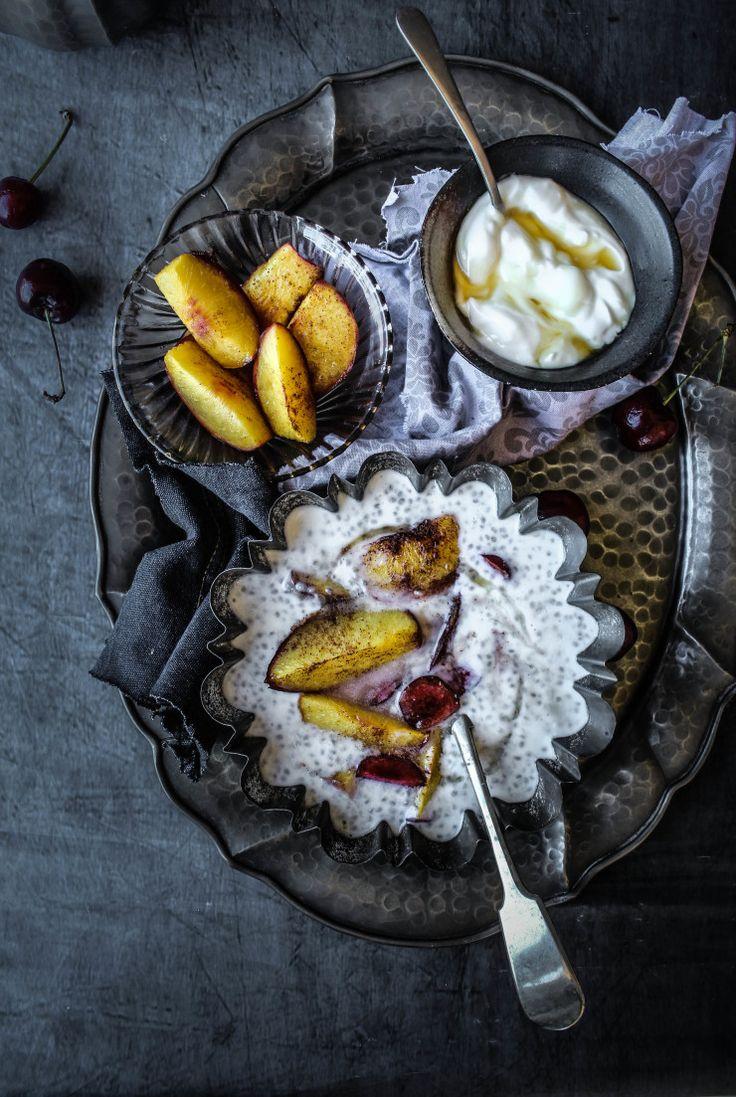 Chia seed pudding with maple yogurt and cinnamon roasted nectarines <3