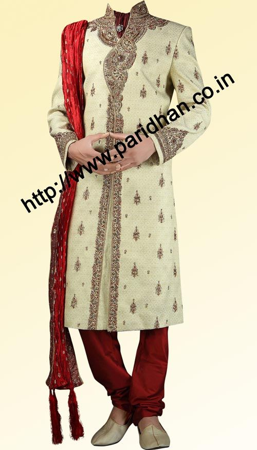 This type of embroidery for Dave with more crystal work.   Designer work brocade fabric exquisite sherwani with embroidery on collar, front, Sleeves cuff. It has red churidar pyjam at bottom. Dryclean only.