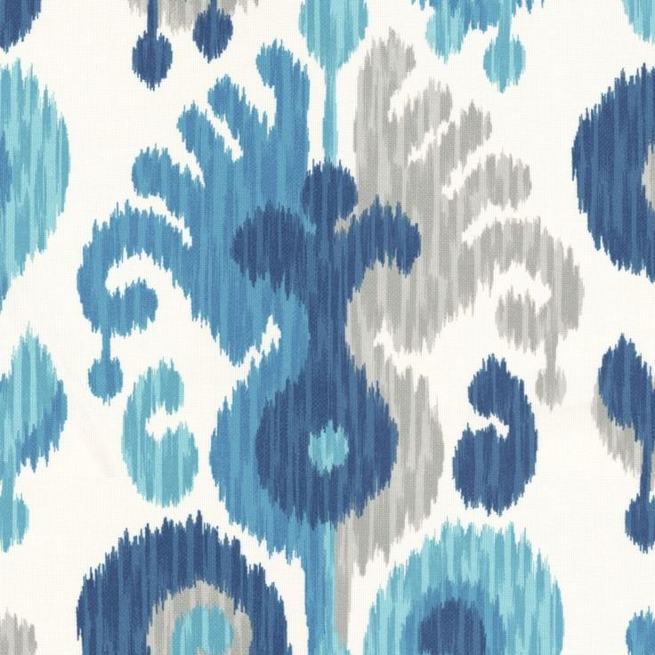Blue & Aqua Ikat Outdoor Fabric | Indian Summer : River | Loom Decor