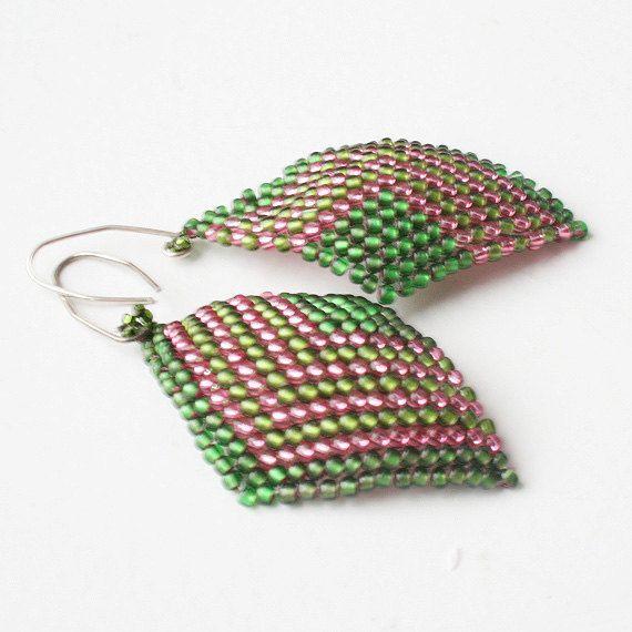 green earrings pink earrings beaded earrings seed by koralikowyraj