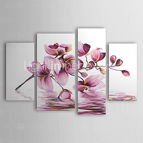 pinturas al óleo juego de 4 flores púrpuras abstractas modernas en lona pintados a mano de agua listos para colgar - USD $ 125.99