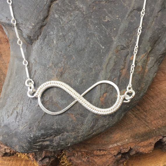 Wire Wrapped Necklace Infinity Necklace by SweetWaterSilver