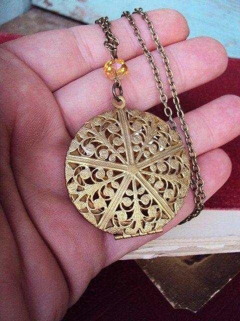 Vintage Large Locket Necklace Filigree by primitivepincushion