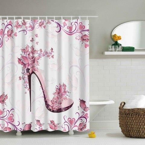 Waterproof Printing Floral High Heeled Shoes Shower Curtain