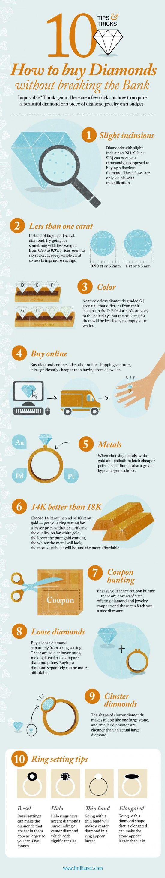 How to buy DiamondsDiamond Rings, 10 Diamonds, Saving Money, Tops 10, How To Buy A Diamonds Rings, Buy Diamonds, Tips And Tricks, Diamonds Buy Guide, Diamonds Infographic