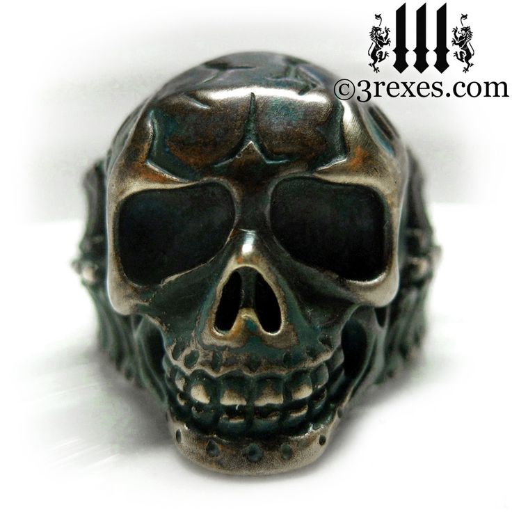"""3 Rexes Jewelry - Brass Skull Biker Ring """"BONES"""" - I was heavily inspired by Victorian Gothic jewelry and the skulls that were used on everyday objects like pipes, purses, pill cases, canes and Masonic jewelry (http://www.3rexes.com/brass-skull-biker-ring-bones/) #skull"""