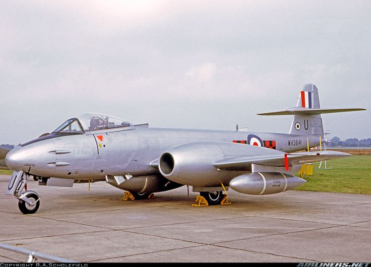 Meteor F.8 coded 'U' of 85 Squadron based at Binbrook displayed at the RAF 50th Anniversary show at RAF Abingdon. - Photo taken at Abingdon (ABB) in England, United Kingdom on June 15, 1968.