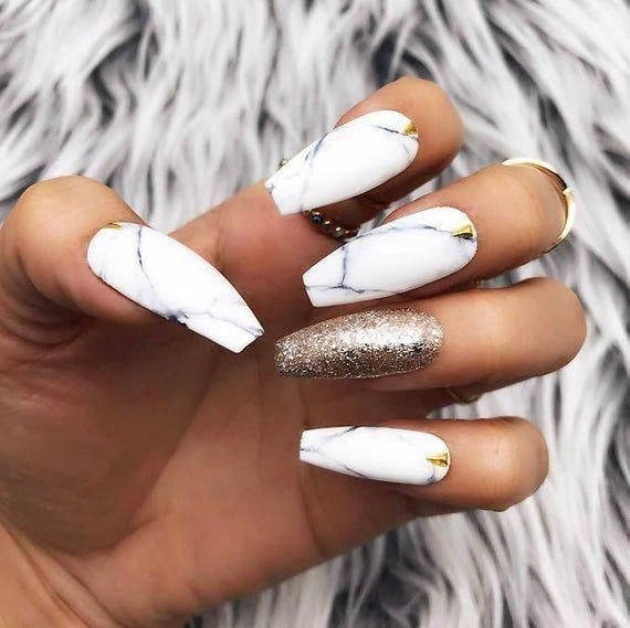 Black White Marble Gold Foil Leaf Studs Press On Nails Any Etsy In 2020 Marble Acrylic Nails Glue On Nails Marble Nail Designs