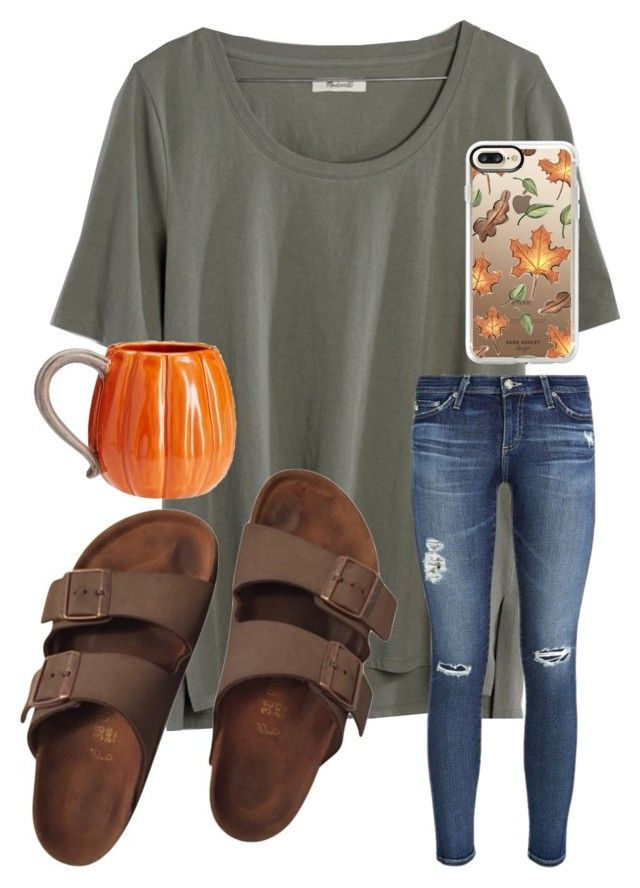 """fall vibes "" by emi-elephant ❤ liked on Polyvore featuring Madewell, AG Adriano Goldschmied, Casetify, Birkenstock and Pottery Barn"
