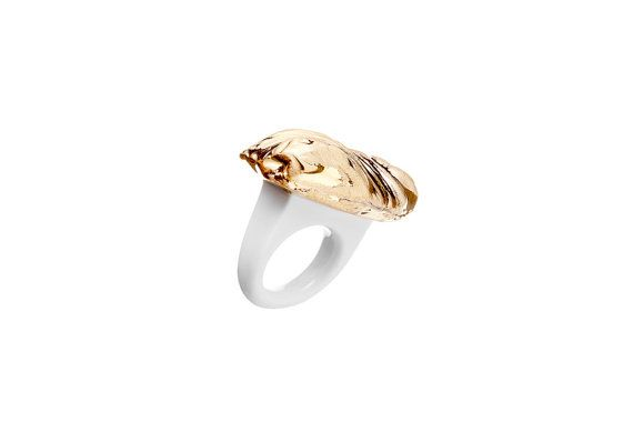 porcelain jewelry,porcelain ring, goldplated, ring, gold, unique ring, unique, handmade ring, little sculpture, ceramic