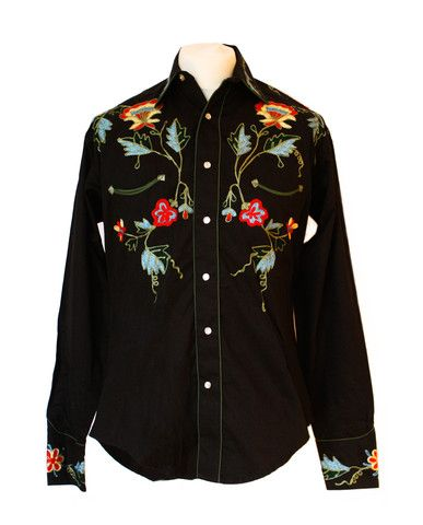 Rockmount Black Floral Embroidered Western Cowboy Shirt  http://broncobills.co.uk/collections/brand-new/products/black-floral-embroidered-western-shirt