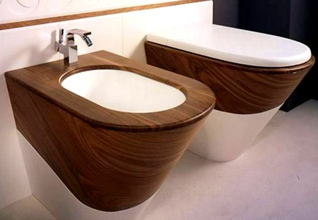Modern, yet a bit rustic bidet and toilet set