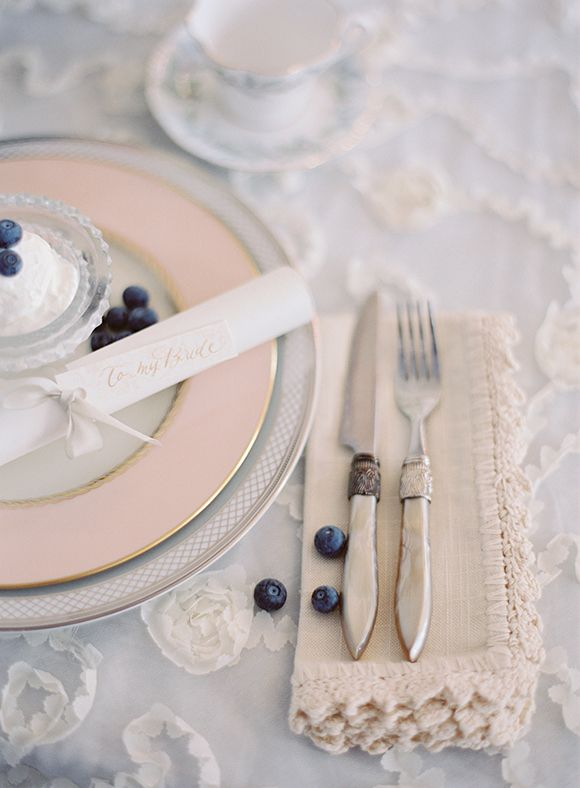 Pink and blueberry table setting