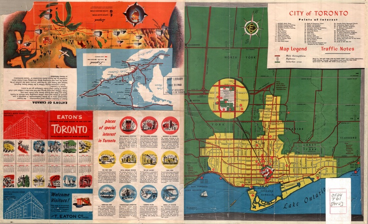 1952 Eaton's visitors' map and guide to the City of Toronto with route maps of main highways