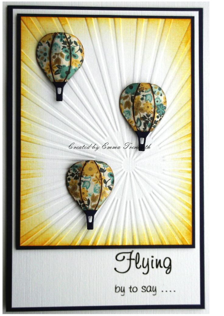 CAS card for any occasion. Made using memory box hot air balloon die, sunburst embossing folder & tim holtz mustard distress ink