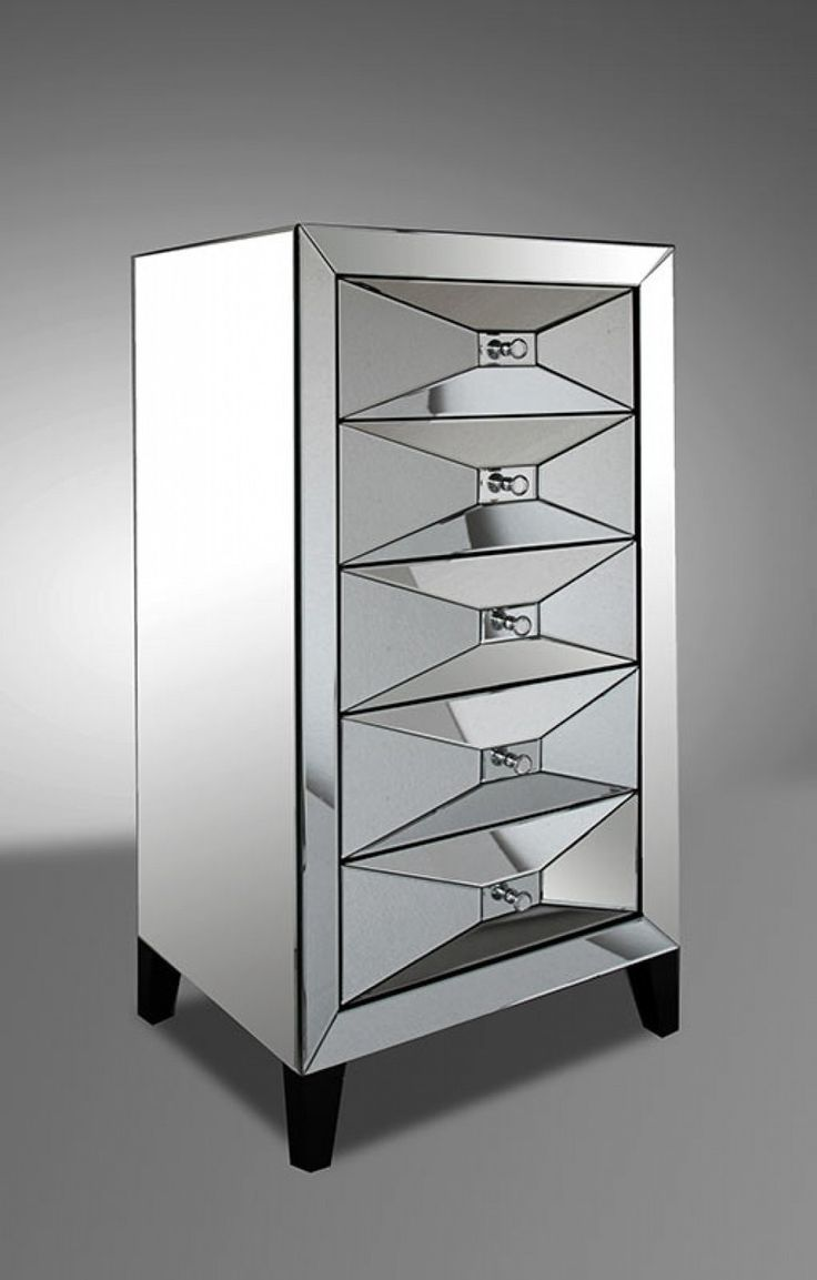 Volare modern white floating glass vanity with mirror modern bedroom - Modrest Elegant Style 5 Drawers Transitional Mirror Chest