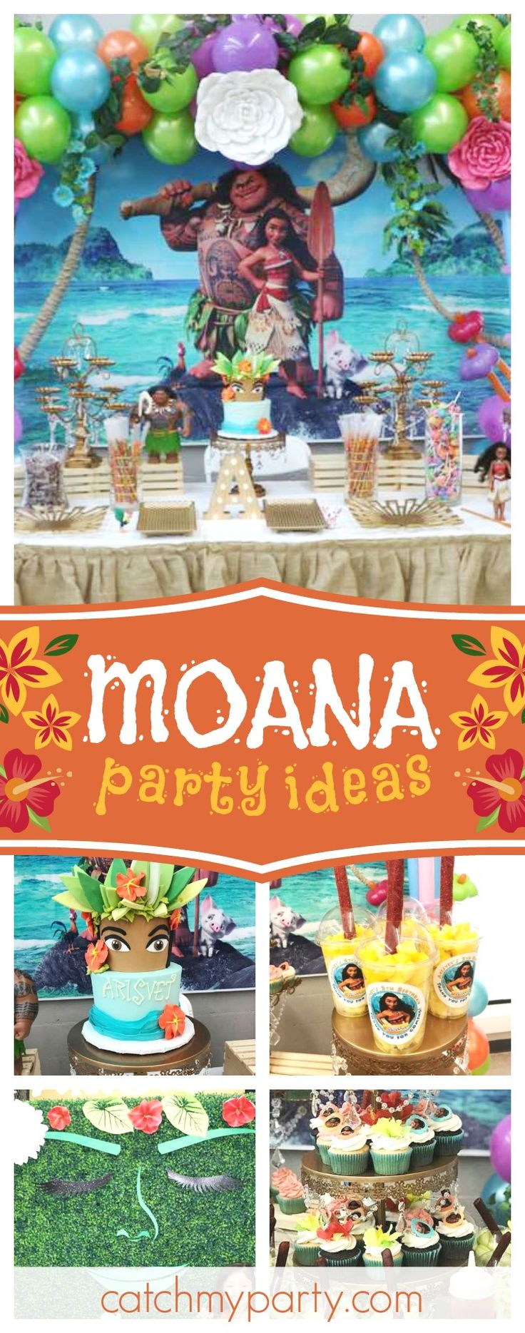 Sail the seas with this incredible Moana birthday party! The birthday cake is amazing!! See more party ideas and share yours at CatchMyParty.com #moana #party #tropical