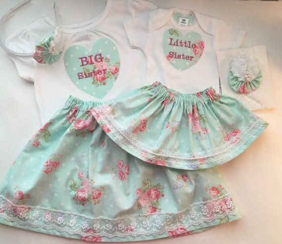 Matching SISTER Outfits and headbands..big sister--- little sister--- shabby…