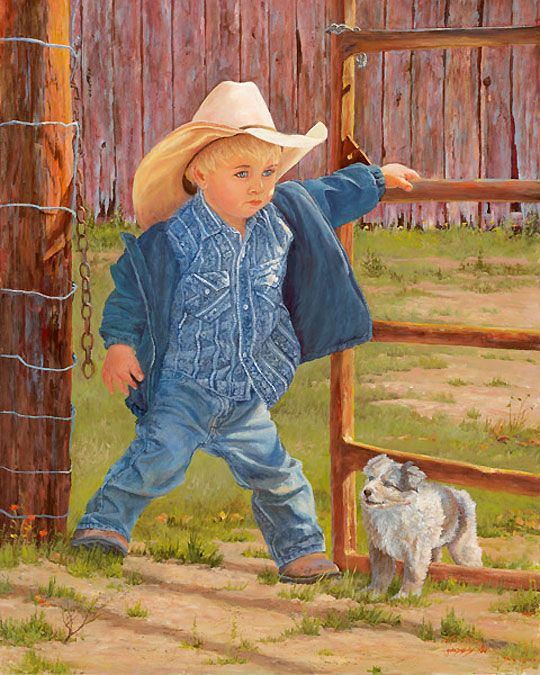 """This particular piece of artwork is brand new from one of our artists, June Dudley. It's called """"Baby Blue Eyes"""" and if you love cowboys and children, then this is a piece of artwork you need to own! Great for a child's room or someone you know who's having a baby soon!"""