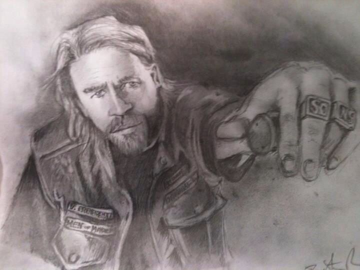 Jax Teller- Graphite on Paper by Troy Parsons