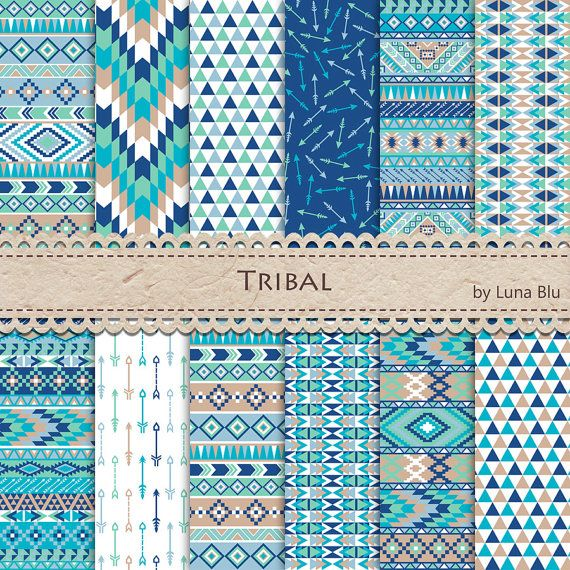 Tribal Digital Paper:  Tribal Patterns inspired by Pantone Spring 2015 colors by Lunabludesign