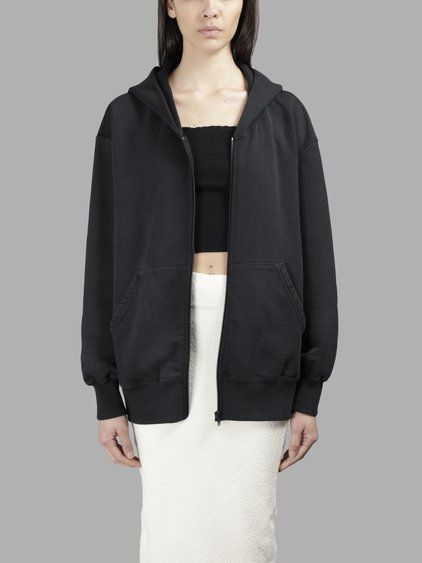 YEEZY Yeezy Women'S Black Boxy Fit Zip Up Hoodie. #yeezy #cloth #sweaters