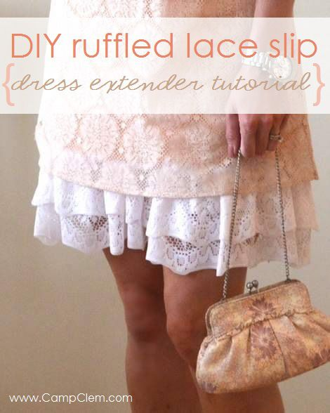 DIY ruffled lace slip skirt extender tutorial'