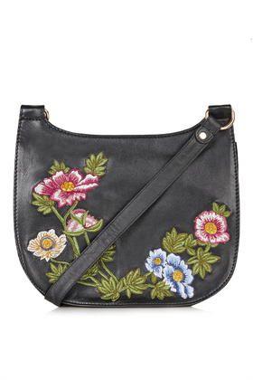 Satteltasche aus Leder mit Blumenstickerei