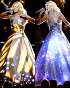 Carrie Underwood during her Grammy performance. Gorgeous dress and unique idea to have images projected on it during the performance