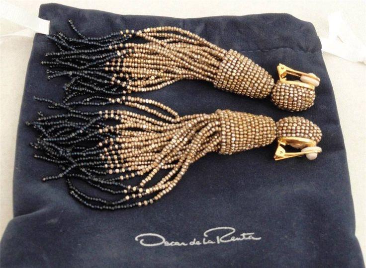 Oscar de la Renta Long Tassel Earrings with Box #OscardelaRenta #DropDangle