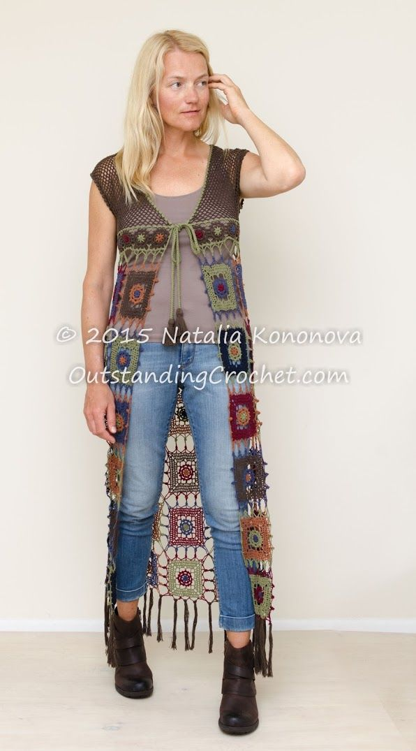 New crochet pattern in the store - Fringed Boho Vest. Instructions, charts, step-by-step pictures for finishing.