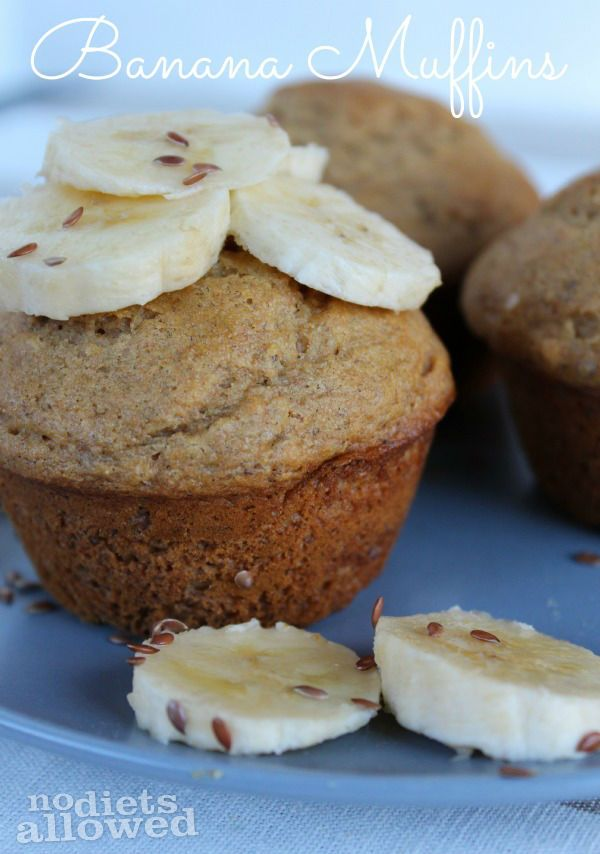 Healthy Banana Muffins are healthy and delicious way to use up your overripe bananas! by www.nodietsallowed.com #recipes #breakfast #healthy