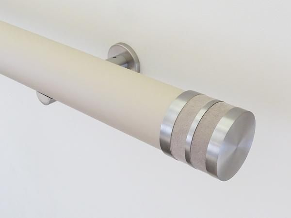 50mm diameter mushroom matt lacquered wooden curtain pole set with suede vole bobbin finials