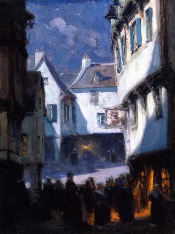 www.wikiart.org - Street-Midnight-Mt. Saint Michel / Clarence Gagnon