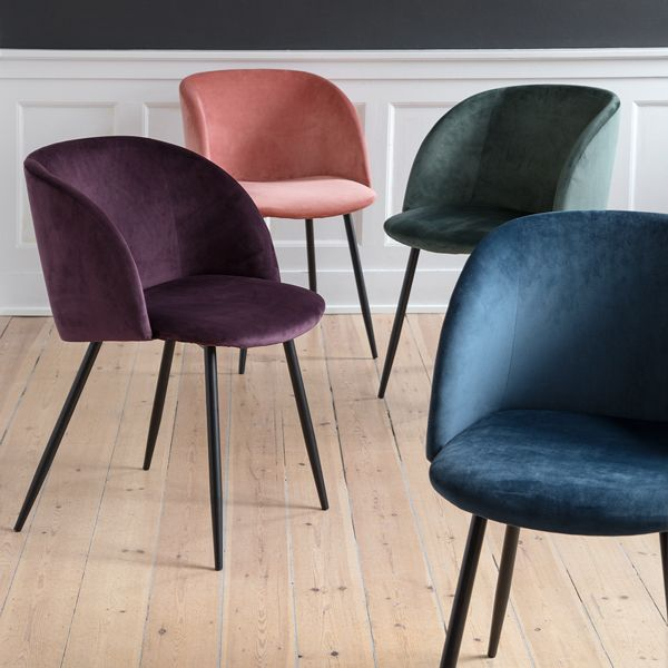 In stores now // New elegant velour chairs with graceful, black legs. Available in four colours, seat height: 49,5 cm, price per item DKK 448 / EUR 61,88 / ISK 11260 / NOK 628 / GBP 59,90 / SEK 618 / JPY 6888 #chairs #velourchairs #newfurniture #furniture #interiorstyling #interiors #homeandinteriors #homedecor #homedecorating #sostrenegrene #søstrenegrene #grenehome