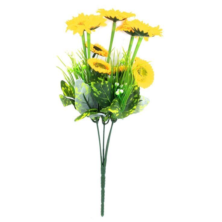 Unique Bargains Wedding Party Manmade Yellow Plastic Mum Flower Nosegay Bouquet, Outdoor Décor