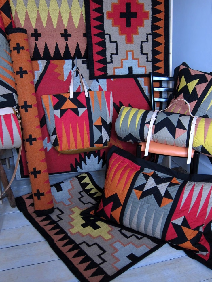 Woah- . Knight Mills releases a collection inspired by native American prints featuring handmade cotton rugs, hand painted canvas and bridle leather bags.