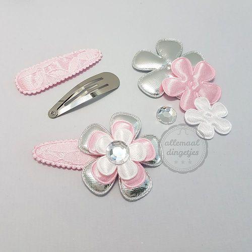 Zelfmaakpakket haarspeldjes (L) roze zilver wit (1 paar)