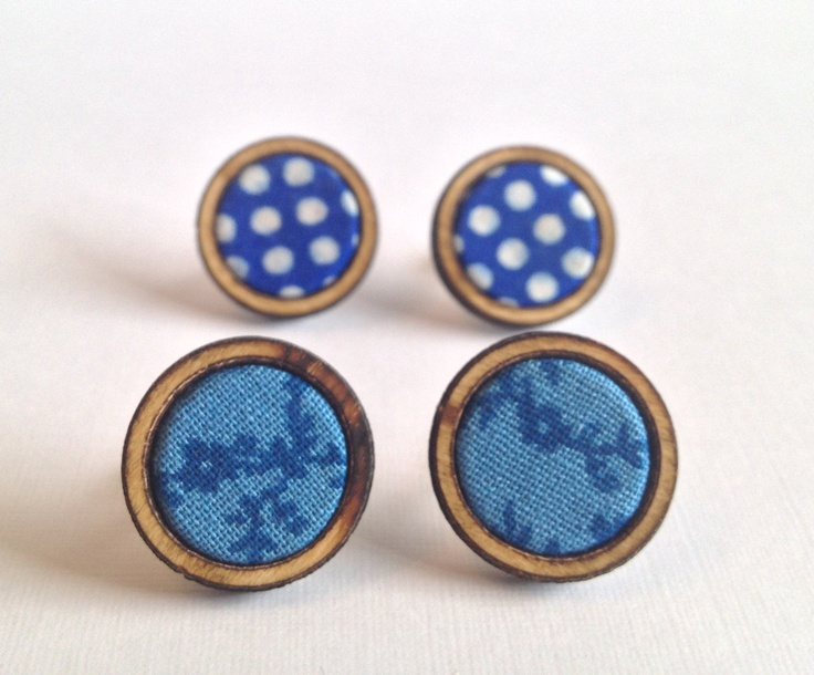 Kosbaar earrings - Classic blue / navy polkadots and floral. Beach wood and fabric.