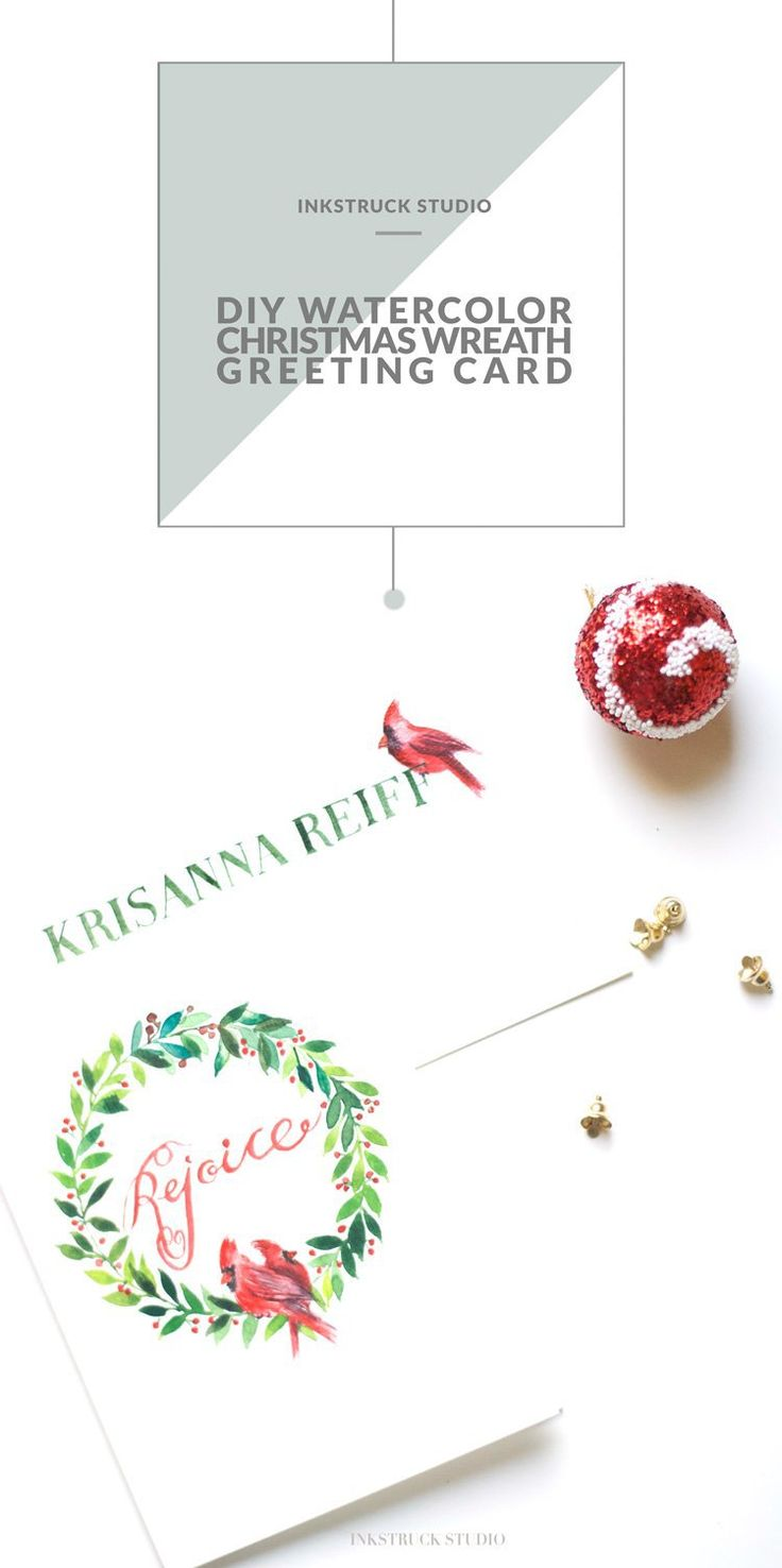 Learn how to create a DIY watercolor christmas wreath greeting card in this tutorial by Zakkiya Hamza of Inkstruck Studio