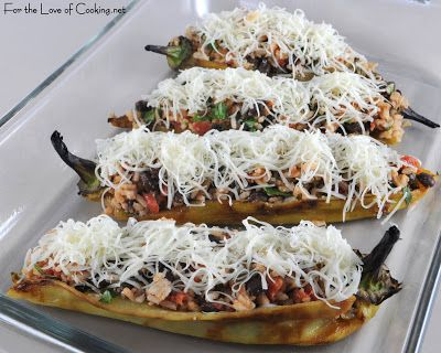Stuffed Anaheim Peppers with Mexican Rice & Beans, Jack Cheese, & Guacamole