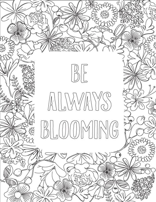 Be Always Blooming Adult Coloring Page Printable Coloring Pages