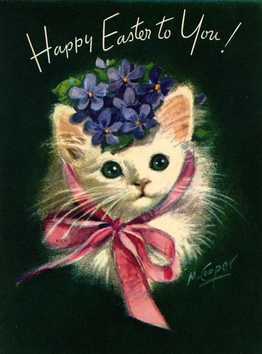 vintage Easter cat; Marjorie Cooper More