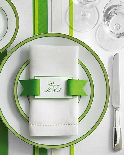 This place setting comes from Martha Stewart Weddings but it could easily be adapted for a graduation party. How adorable is the grosgrain ribbon?